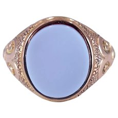 Antique Victorian c. 1900 Sardonyx and Gold Signet Ring Size 7.5