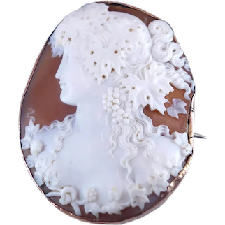 Antique Victorian c. 1890 Bacchante Shell Cameo with Rose Gold Border Brooch Pendant