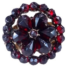 Antique Victorian c. 1870 Bohemian Garnet Rose Gold Cluster Ring Size 5 1/4