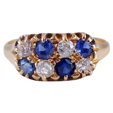 Antique Edwardian 1902 Sapphire and Diamond Checkerboard 18K Gold Ring Size 7 3/4