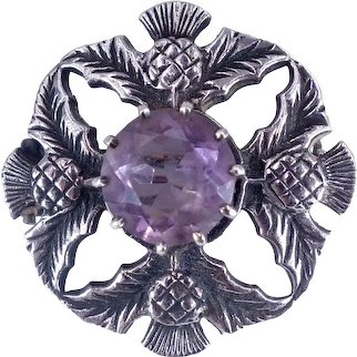 Antique Victorian 1891 Scottish Sterling Silver Thistle and Purple Glass Brooch