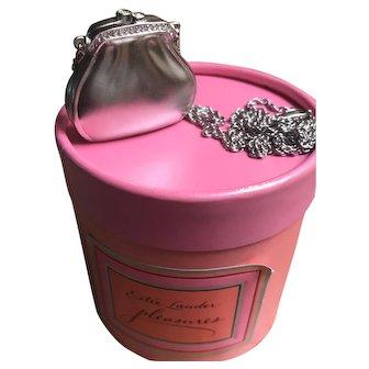 Estée Lauder Silver Pendant Purse Solid Perfume Compact