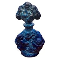 Ingrid Opaque Lapis Blue Cherub Czechoslovakian Perfume Bottle