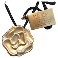 Rare Estee Lauder Angela Cummings 18KT Gold and Diamond Beautiful Blossom Solid Perfume Compact Pendant