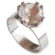 Elis Kauppi - Sterling silver and rock crystal ring - Finland - 1970s