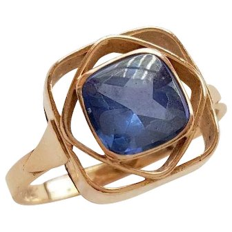 Swedish 18K solid gold ring with blue stone - 1956
