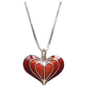 David Andersen - Red enamel on silver heart pendant - Norway - 1960s