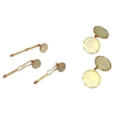 Men's  Vintage Mother Of Pearl 14 Kt Gold Cuff Links Tuxedo Set #24