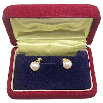Vintage Mikimoto Large  9.3 MM Cultured Akoya Pearl 14 KT YG Earrings 061219-E1