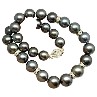 "Fine Diamond & Tahitian Pearl 16Mm 18"" 14 Kt Necklace Certified $27,250 914436"