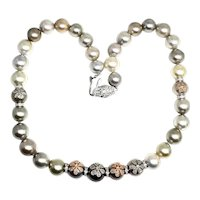 "Fine Diamond & South Sea 12.80 Mm 17.5"" Pearl Necklace Certified $14,950 910878"