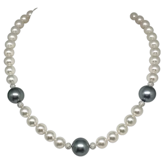"Fine Diamond Tahitian 14 MM 9.5 Akoya 18"" 14KT Necklace Certified $12,950 915962"