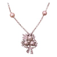 Fine Diamond Akoya Pearl 14KT 18 IN Necklace Italy Certified $3,950 818064