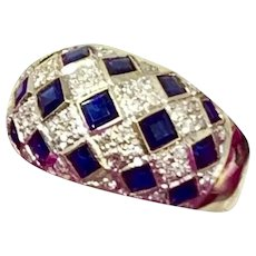Fine Diamond Sapphire 14 KT 2.14 TCW Checkerboard Ring Certified $2,850 606974