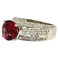 Fine Rubellite & Diamond 14Kt 3.65 Ct Ladies Ring Certified $4,950 913505