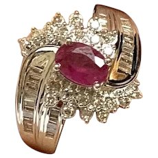 Fine Diamond & Ruby 14 KT 1.30 TCW Ladies Ring Certified $3,000