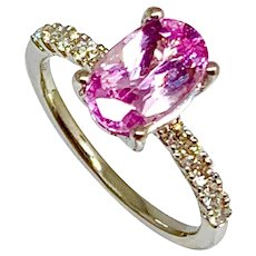 Fine Pink Sapphire & Diamond 18 Kt 2.18 TCW Ladies Ring CERTIFIED $4,550 913130
