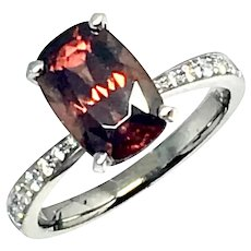 Fine Rubellite & Diamond 18Kt 4.01 tcw Ladies Ring Certified $2,950 910746