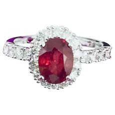 Fine Ruby & Diamond 18Kt 2.93 Ct Ladies Satement Ring CERTIFIED $1,790 821729