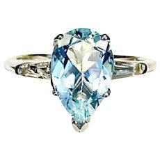 Fine Aquamarine & Topaz 14 Kt Large 3.10 TCW Ladies Ring CERTIFIED $1,800 912274