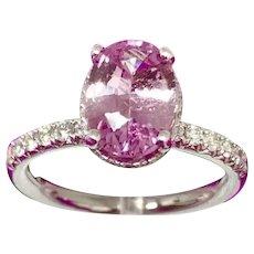 Fine Pink Sapphire Diamond 18Kt 2.75 TCW Ladies Ring Certified $4,950 913129