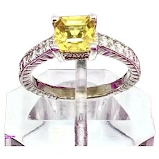 Fine Yellow Sapphire Diamond 14Kt 1.66 tcw Ladies Ring Certified $3,990 915184
