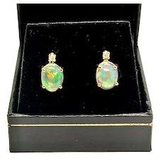 Fine Opal & Diamond 14 Kt 2.30 CTW Lady's Earrings Certified $1,490 915157