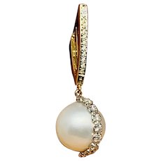 Fine South Sea Pearl Diamond 14Kt Large 13.85Mm Earrings Certified $5,950 915539