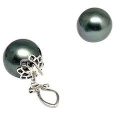 Fine Tahitian Pearl 14 Kt LARGE 13.25 mm Earrings Certified $3,950 915560