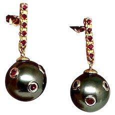 Fine Ruby & Tahitian Pearl 14Kt Large 11.35 mm Earrings Certified $3,950 910808