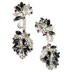 Fine Sapphire Diamond Palladium 2.9TCW Drop Earrings Certified $1,590 913282
