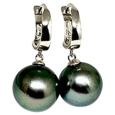 Fine Large Tahitian Pearl 18kt 13.6 mm Ladies Earrings Certified $2,950 913504