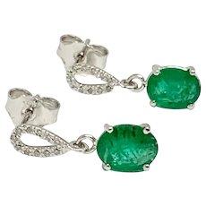 Fine Emerald Diamond 14 Kt 2.17 TCW Drop Lady's Earrings Certified $1550 822596