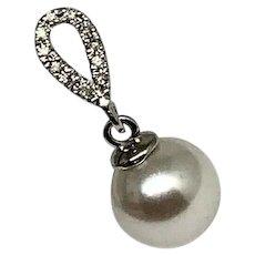 Fine Akoya Pearl & Diamond 14KT LARGE 8.19 mm Earrings Certified $699 822079