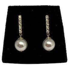 Fine Diamond & Akoya Pearl 14 kt 8.2 mm Drop Earrings Certified $1,099 810542