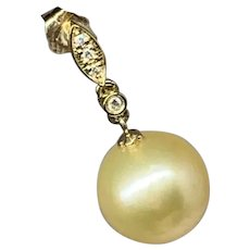 Fine Diamond South Sea Pearl 14 Kt Large 12 mm Earrings Certified $2,950 914363