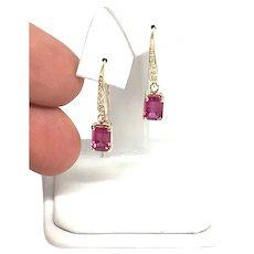Fine Rubellite Tourmaline Diamond 14Kt 2.05 TCW Earrings Certified $1,690 821770