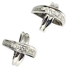 """Fine Diamond 14Kt """"X"""" Stud Earrings Certified $995 820694"""