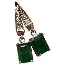 Fine Emerald & Diamond 14Kt 2.83 TCW Drop Earrings Certfied $2,190 821703