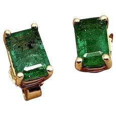 Fine Natural Emerald Stud 14 Kt 1.25 CTW Ladies Earrings Certified $1,090 915135