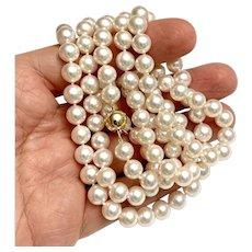 Fine Diamond Akoya Pearl 14KT 8.5 MM Long 40 IN Necklace Certified $9,950 613384
