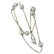 """Fine Akoya Pearl 7.9MM 14kt Station 24.5"""" Ladys Necklace Certified $2,575 721780"""