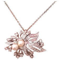 Fine Akoya Diamond 14KT 10KT Brooch Pendant Necklace ITALY Certified $5,995