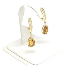 Fine Citrine & Diamond 14Kt 3.79 TCW Ladys Earrings Certified $1,490 820452