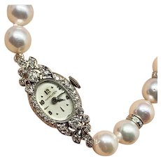 "Fine Diamond Akoya Pearl 14K Watch 8.5Mm 7.5"" Hamilton Certified $5950 911041"
