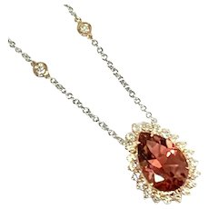 Fine Morganite Diamond Ladys 14 Kt Large 8 TCW Necklace Certified $5,950 915313