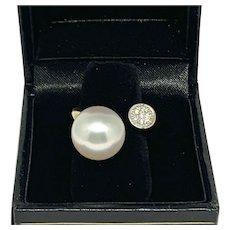 Fine Diamond South Sea Pearl 14 Kt 12.55mm Ladies Ring Certified $3,950 915316