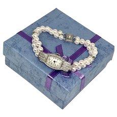 Fine Geneve Akoya Pearl Diamond Platinum Watch Bracelet Certified $10,750 922584
