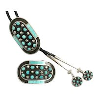 Navajo Sterling Turquoise Bolo Jewelry By Gobels Mares Estate CCBOLO12