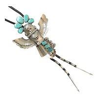 Navajo Sterling Silver Coral Turquoise Bolo Jewelry Estate CCBOLO15